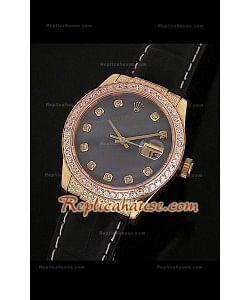 Rolex Datejust Reproducción Reloj Suizo para Hombres con Esfera Perla y Correa de Piel