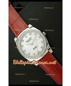Rolex Celleni Réplica Japonesa Reloj de Cuarzo Esfera Perla, Números en Diamantes y Correa de Piel