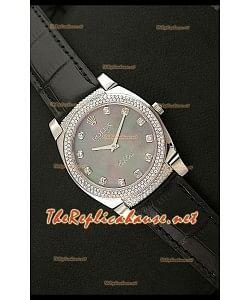 Rolex Celleni Reproducción Japonesa de Cuarzo Todo Negro y Diamantes en Esfera Perla