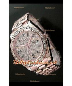 Rolex Daydate II Reloj Suizo - 41MM en Oro Rosa y Diamantes Redondos en Bisel