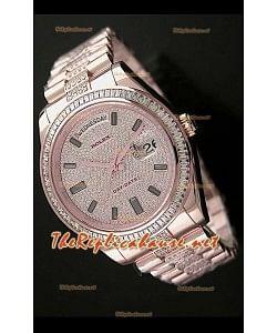 Rolex Daydate II Reloj Suizo - 41MM en Oro Rosa y Diamantes cuadrados en Bisel