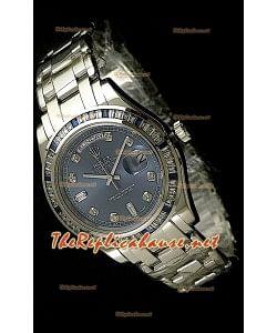 Rolex Daydate Reproducción Reloj Suizo  - Reloj mediano- 37MM con Esfera Azul