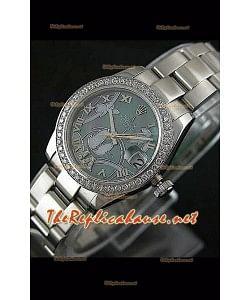 Reloj japonés Rolex Datejust para damas con estuche de 31 mm.