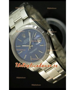 Rolex Réplica Datejust Reloj Suizo Carcasa Azul con Marcadores de Palillo