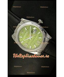 Rolex Réplica Datejust Reloj Suizo – 37MM - Carcasa Verde/Malla