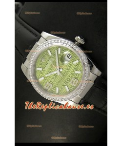 Rolex Réplica Datejust Reloj Suizo – 37MM - Malla Negra Esfera Verde