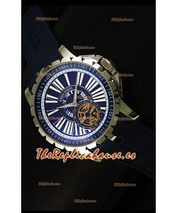 Roger Dubuis Excalibur Tourbillon Reloj con Movimiento Japonés - Dial Azul