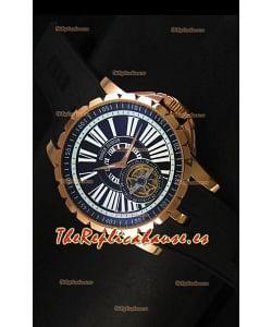 Roger Dubuis Excalibur Tourbillon - Reloj Chapado en Oro Rosado Dial Negro