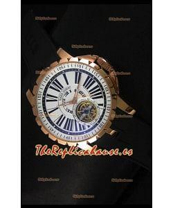 Roger Dubuis Excalibur Tourbillon - Reloj Chapado en Oro Rosado Dial Blanco