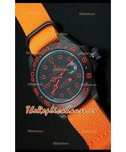 Reloj Rolex Explorer II Bamford, Réplica, Edición Stealth and Flame, Correa Azul Marino de Nylon