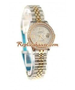 Rolex Suizo Réplica estampado floreado Datejust Reloj - tamaño dama