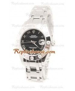 Datejust Rolex Reloj Suizo de imitación en acero inoxidable y Dial Negro - 34MM