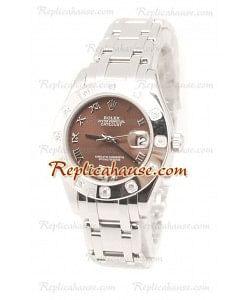 Datejust Rolex Reloj Suizo de imitación en acero inoxidable y Dial Marrón - 34MM