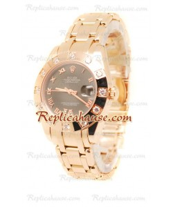 Datejust Rolex Reloj Suizo de imitación en Oro Rosa y Dial Marrón - 34MM