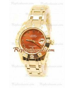 Datejust Rolex Reloj Suizo en Oro Amarillo y Dial Marrón - 36MM