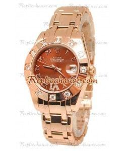 Datejust Rolex Reloj Suizo en Oro Rosa y Dial Marrón - 36MM