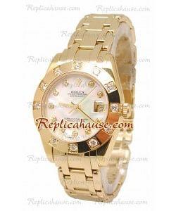 Pearlmaster Datejust Rolex Reloj Suizo en Oro Amarillo con Dial Color Perlado - 34MM