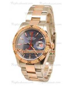 Datejust Turn O Graph Rolex Reloj Suizo in Rose Dial dorado Azul Marino