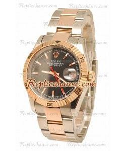 Datejust Turn O Graph Rolex Reloj Suizo in Dial en oro rosa Negro