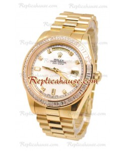 Rolex Day Date II Dial Blanco Gold Reloj Suizo Bisel de diamantes in 43MM