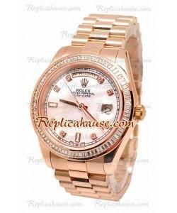 Rolex Day Date II Dial rosa perlado Rose Gold Reloj Suizo Bisel de diamantes, 44MM 41MM