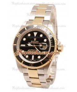 Rolex Submariner Dos Tonos Cara Negra Reloj 40MM
