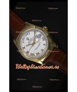 Rolex Day Date 36MM Reloj Réplica Suizo en Oro Amarillo - Dial Blanco