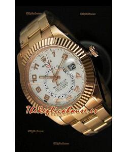 Rolex Sky-Dweller Reloj de Oro Amarillo de 18K Dial Blanco con Numerales Arábigos