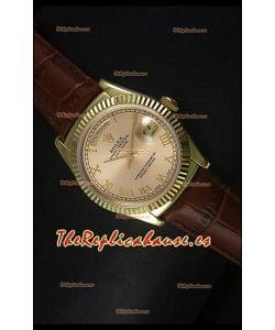 Rolex Day Date 36MM Reloj Réplica Suizo en Oro Amarillo - Dial Champange