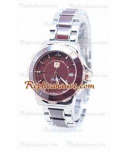 Tag Heuer Formula 1 Quartz Brown Ceramic Rose Bisel en oro con diamantes Reloj