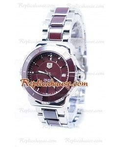 Tag Heuer Formula 1 Quartz Brown Ceramic Bisel de diamantes Reloj
