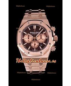 Audemars Piguet Royal Oak Reloj Cronógrafo en Caja de Oro Rosado y Dial Marrón