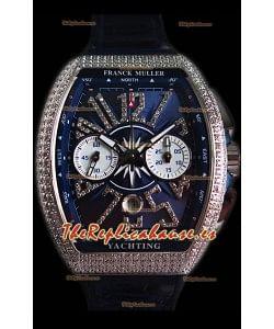 Franck Muller Vanguard Chronograph Reloj Suizo con Diamantes Dial color Azul en Acero 904L