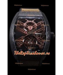 Franck Muller Vanguard Skeleton Tourbillon Reloj Réplica Suizo Negro Carbono