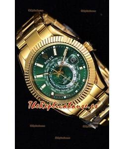 Rolex SkyDweller Reloj Suizo Caja de Oro Amarillo de 18 K - Edición DIW Dial Verde