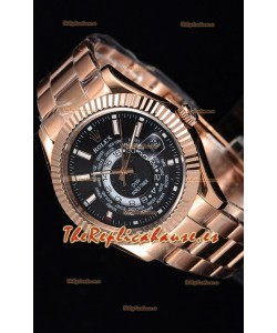 Rolex SkyDweller Reloj Suizo Caja de Oro Rosado de 18 K - Edición DIW Dial Negro
