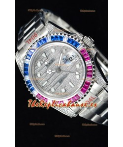 Rolex GMT Masters II Iced out Reloj Suizo con Caja de Acero 904L