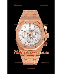 Audemars Piguet Royal Oak Chronograph Reloj de Acero 904L en Oro Rosado Dial Blanco - Reloj Réplica a Espejo 1:1