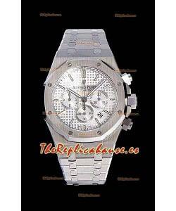 Audemars Piguet Royal Oak Chronograph Dial Blanco Reloj Réplica a espejo 1:1 de Acero 904L