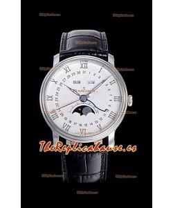 """Blancpain """"Villeret Quantième Complet"""" Reloj de Acero Suizo 904L con Dial en Blanco apagado"""