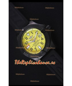 Breitling Avenger Blacksteel Reloj Replica Suizo revestimiento DLC, Dial Amarillo