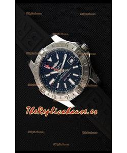 Breitling Avenger II GMT Reloj Replica Suizo a Espejo 1:1 Dial Negro