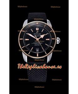 Breitling SuperOcean Heritage II 44MM Reloj Réplica a Espejo 1:1 Dial Negro 904L de dos Tonos, Correa de Goma