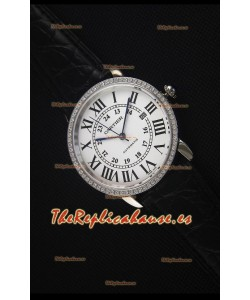 """Cartier """"Ronde De Cartier""""  Caja de Acero Inoxidable, Bisel con Diamentes Creados en Laboratorio"""