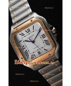 Cartier Santos De Cartier Reloj Réplica a Espejo 1:1 - 40MM Reloj de Acero de Dos Tonos