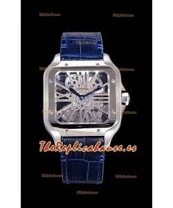 Cartier Santos DUMONT Skeleton Reloj Suizo de Acero Inoxidable