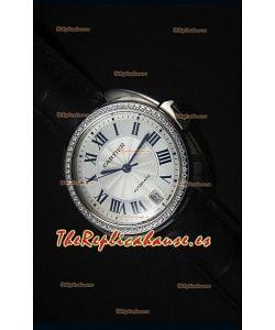 Cle De Cartier Watch 40MM Carcasa en Acero Bisel en Diamante - Reloj Replica a Escala Espejo 1:1