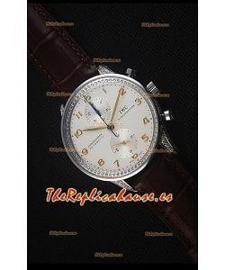 IWC Portuguese Reloj Replica Suizo Cronógrafo a Espejo 1:1 Acero Inoxidable con Diamantes