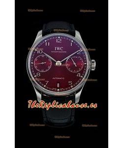 IWC Portugieser Swiss IW500714 Reloj de Acero 904L Réplica a Espejo 1:1Burgundy Dial Watch