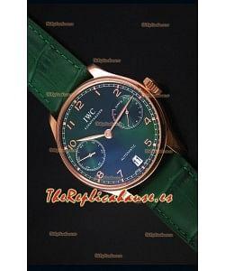 IWC Portugieser Swiss 1:1 Reloj Replica a Espejo Dial Verde Caja en Oro Rosado